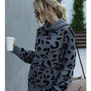New  Gray Black Leopard  Oversized  Sweater
